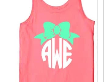 Monogrammed tank top, personalized tank top, Comfort colors sleevless tank