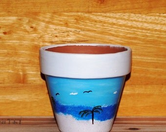 Seagulls and Palm Trees Seascape Flower Pot Ocean Waves Hand Painted on 4.5 Inch Terra Cotta Red Clay Pot Made to Order