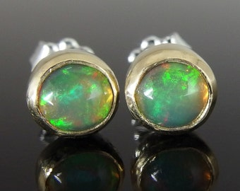 Ethiopian Opal, 18k Gold and Sterling Silver Stud Earrings, Ethiopian Opal Stud Earrings, October Birthstone Earrings