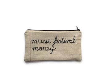 Music Festival Money Zipper Pouch - Pencil Case - Notebook Paper Fabric - Hand Embroidered - Ticket Holder - Makeup Bag - Money Bag