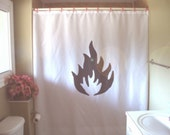 fire shower curtain camp warning hazard flame burn bathroom decor bath curtains custom size long wide waterproof