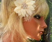 Chiffon Flower Fascinator, Flower Bridal Hair Clip, Ivory Wedding Hair Clip, Floral Hair Clip, Bridal Fascinator, Ivory Bridal Fascinator