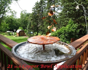 Birdbath Lily Pad Water Fountain Solid Copper in Medium 14