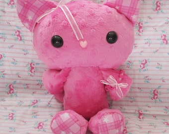 Pink Gingham PatterKitty Plush Stuffed Animal