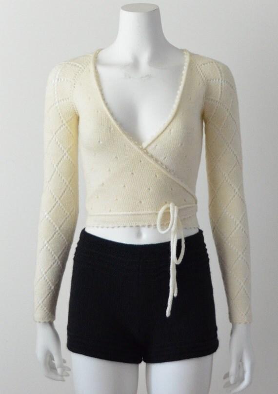 Ballerina Merino Wool Wrap Cardigan In Ivory