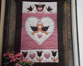 Folkhearts and Flowers Quilted Wall hanging Calico Hills Farm Sewing Pattern