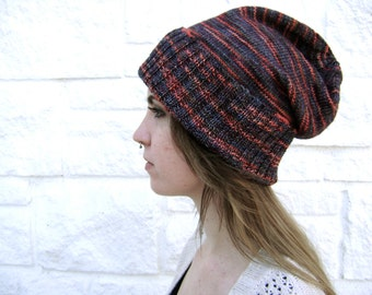 HALF OFF - Regular price 75 Hand Knit Slouchy Hat - Will Fit Teens to Adult Woman or Man