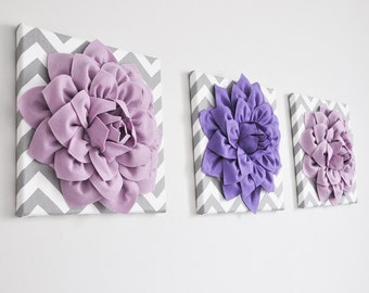 """Wall Hangings  SET OF THREE Lilac and Lavender Dahlias on Gray and White Chevron 12 x12"""" Canvas Wall Art - 3D Felt Flower"""