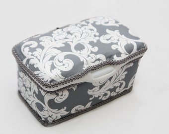 Personalized Wipes Case Tub - Grey Damask