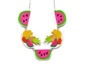 Fruit Statement Necklace, Watermelon Necklace, Pineapple Necklace, Neon Charm Necklace, Bannana Necklace, Colorful Bib Necklace