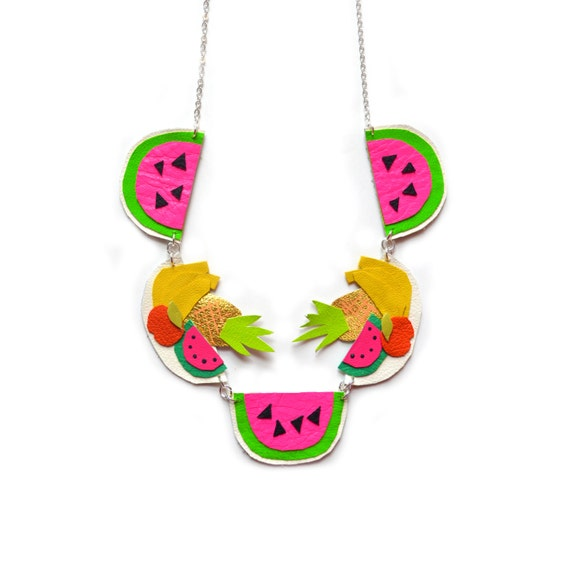 Fruit Statement Necklace, Watermelon Necklace, Pineapple Necklace, Neon Charm Necklace, Bannana Necklace, Colorful Bib Necklace