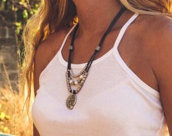Leather Necklace , Pearl Necklace , Silver Necklace , Paisley Necklace , Boho Necklace , Multi Strand Necklace , Leather Jewelry , Amy FIne