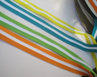 "1.25"" Wide Nylon Knit Sports Elastic in Orange Green Teal Blue Yellow White Stripe for Lingerie Athletic Wear Yoga Leggings Exercise ST"
