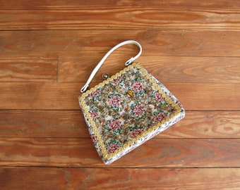 ON SALE - Vintage Tapestry Bag - 1960s Beaded Purse - The Mary