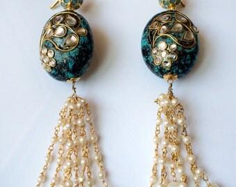 Turquoise Kundan Earrings,Pearl Chandelier Earrings, Wedding Jewelry,Bridal Earrings,Kundan Pearl gold,Indian  jewellery by Taneesi