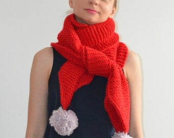 The Pom. Large Oversized Super Chunky Alpaca Wool Scarf with Pompoms. Red and pearl grey.