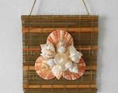 Seashell Art Bamboo Woven Mat Wall Sculpture Hanging Beach Seashore Tiki Hut