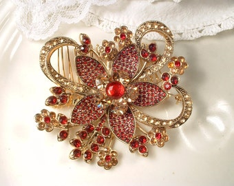 Red Sash Brooch or Hair Comb, Large Gold Garnet Ruby Rhinestone Bridal Dress Pin / Hair Accessory Chinese, India Wedding Flower Hairpiece