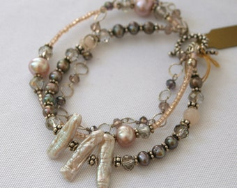 Biwa Pearl and Sterling Silver 3 Stand Bracelet - Cyberlily