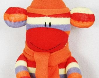 Sock Monkey Doll Red and Orange Stripes