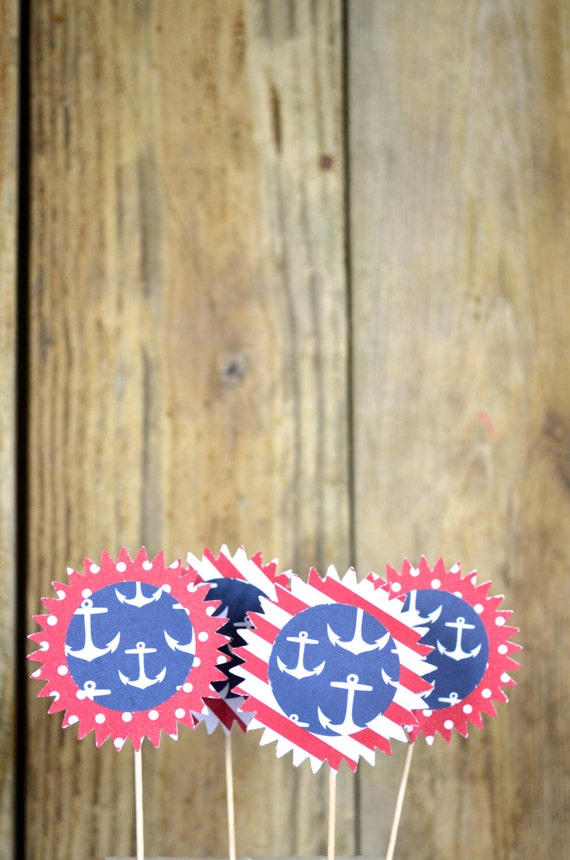 Nautical Summer Style Cupcake Toppers, 12 patriotic colored circle shaped pieces