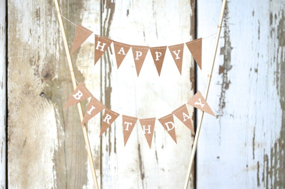 HAPPY BIRTHDAY Hand Stamped Cake Topper Garland, mini paper bunting - custom colors available