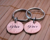 Set of Two Personalized, Hand Stamped Lucky Penny Keychain Identical Set of 2