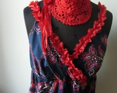 RESERVED Blue Red Bandana Print Tank Top, Doily Necklace, Upcycled Recycled Repurposed Clothing, Country Chic Shirt, Empire Waist Tank Top