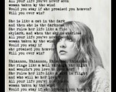 Custom Stevie Nicks Fleetwood Mac Rhiannon Lyrics Minimalist Art Print
