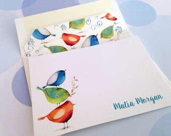 Personalized Stationery Set, Custom Note Cards, Bird Cards, Set of 8