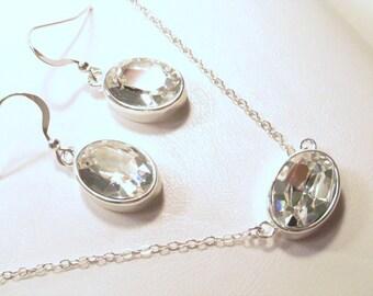 Swarovski Crystal Necklace Earring Set, Swarovsk Crystal, Necklace, Earring, Set, Sterling, Silver, Bride, Bridesmaid, Clear, Drop, Wedding