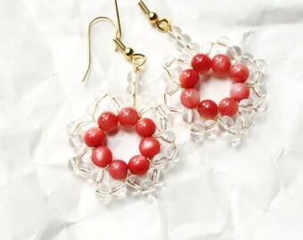 Pink, Gold, and Clear Beaded Bohemian Earrings, Daisy Mandala