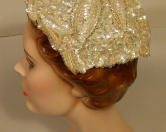Bubbly Champagne Wedding - Vintage 1950s Ivory & Champagne Beads Sequin Formed Caplet Hat