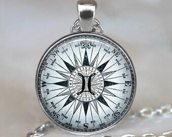 Compass Zodiac Gemini necklace, astrology necklace Gemini jewelry Gemini pendant Zodiac jewelry Zodiac pendant astrology key chain
