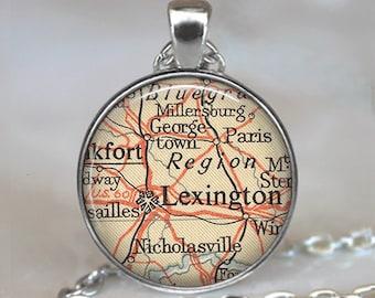 Lexington, Kentucky map necklace, Lexington necklace, Lexington map pendant, Lexington pendant, keychain key chain
