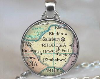 Zimbabwe map necklace, Zimbabwe map pendant Rhodesia map pendant Rhodesia map necklace Zimbabwe keychain key fob key ring