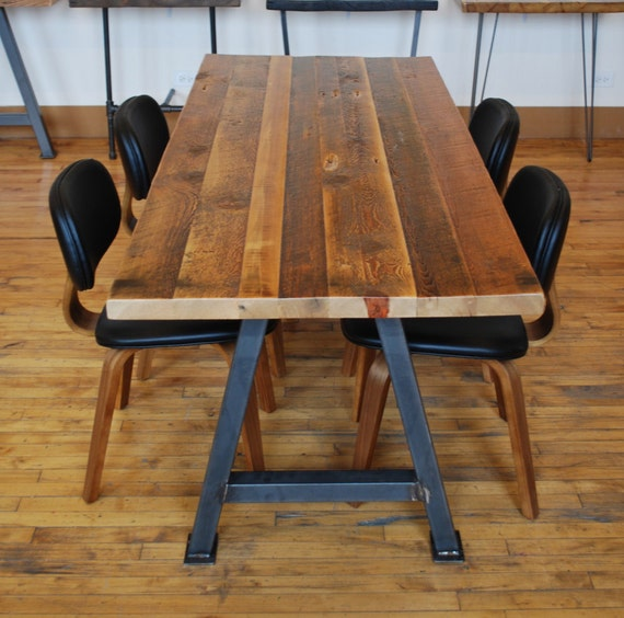 Dining Table With Reclaimed Wood Top And Steel A Frame Legs In