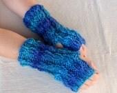 Hand Knit Fingerless gloves   Hand Knitted blue fingerless gloves mittens - wool gloves