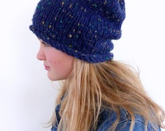 Blue Chunky knit beanie , Chunky slouchy beanie , Blue slouchy hat , mens hat womens hat
