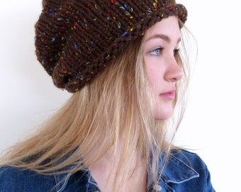 Brown knitted hat , Chunky slouchy beanie , Brown slouchy hat , Brown Mens beanie - womens hat