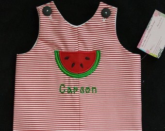 Handmade Toddler Boys red striped Jon Jon with appliqued watermelon available in size 3 months to size 4t