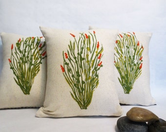 Hand Block Printed Green Cactus Ocotillo Desert Landscape Pillow - Burnt Orange Floral Blossoms