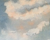 Watercolor painting Art Original Watercolor Painting Watercolor Landscape Cloud Painting Forest Painting Small Art Misty Landscape