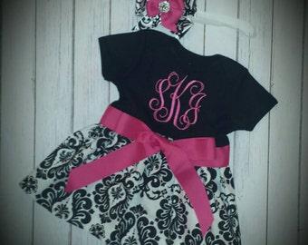 Damask dress, black and white damask girls dress. Damask and hot pink