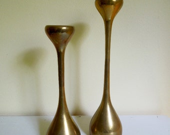 Vintage Brass Candle Holders, Rounded Mod Design, Set of Two Candlestick Holders, ON SALE