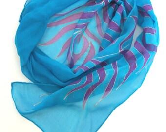 Peacock feather scarf, hand painted silk, silk hair scarf