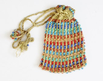 Vintage 40s does 20s Beaded Purse with Drawstring Tassels, Rainbow Beads