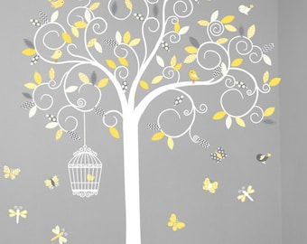 Children wall decal tree - Vinyl tree decal - tree decal - Swirl tree decal- Nursery tree - Swirl Tree Decal - Nursery Wall Decal - Yellow