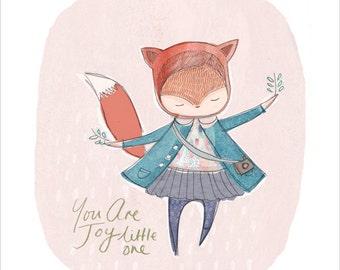 Fox Print, Nursery Print Fox, Nursery wall art, Animal Nursery Print, Girl Nursery Print, Animal Art Print, Fox Decor, Girl Fox Art,