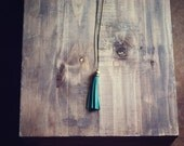 Pink Lemonade Long Kelly Green Antique Brass Tassel Charm Necklace